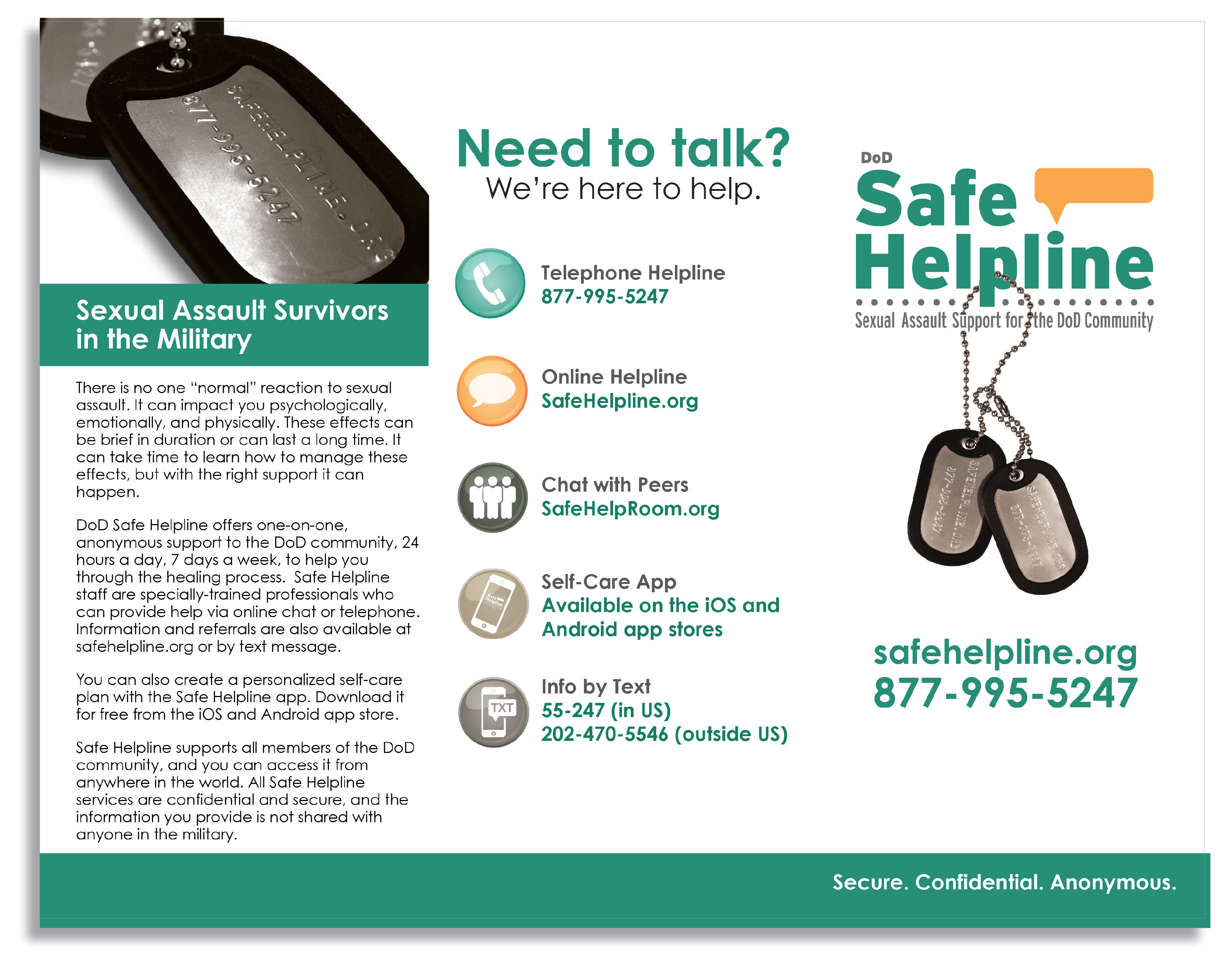Safe Helpline Brochure - Side 1