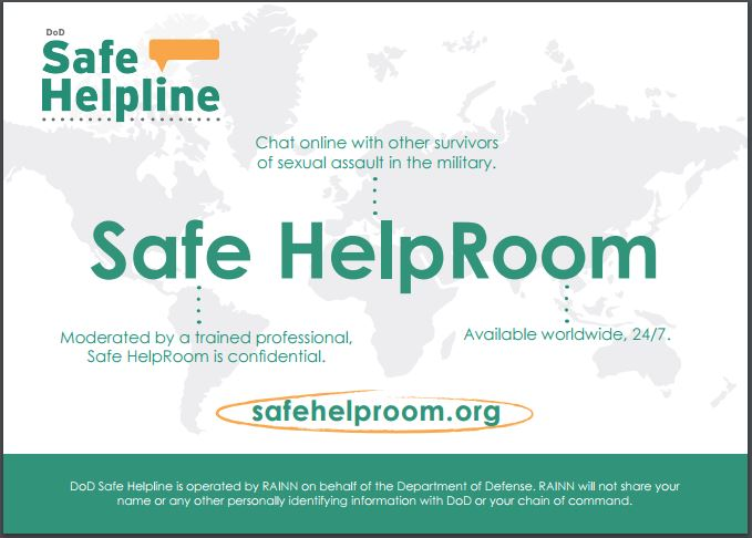 Safe HelpRoom and Safe Helpline App Postcard safe helpline ois android app, military sexual assault survivor app, sexual assault victim help app