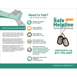 Safe Helpline Brochure  brochure for save helpline, brochure for military sexual assault survivor information,