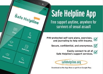 Safe Helpline App Postcard group chat service for military survivors of sexual assault, support group for military sexual assault victims,